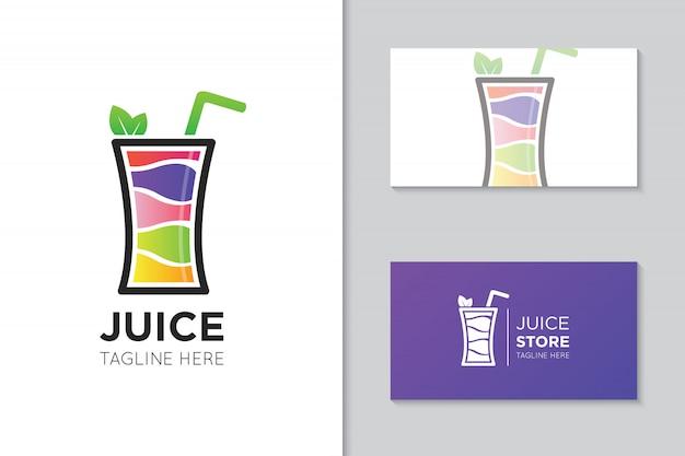 Logotipo do suco e modelo de cartão Vetor Premium
