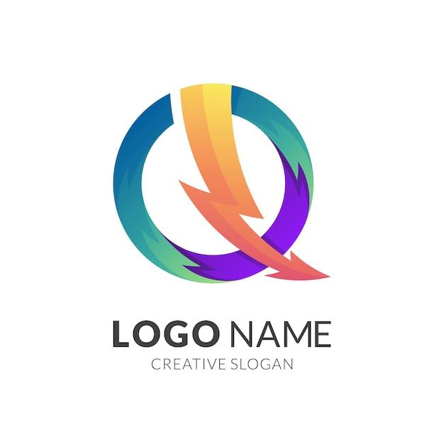 Logotipo do thunder com combinação de design de seta, poder e logotipos coloridos Vetor Premium