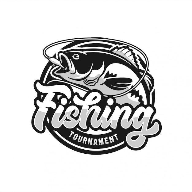 Logotipo do torneio de pesca Vetor Premium