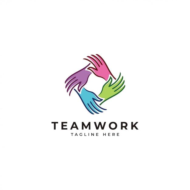 Logotipo do trabalho em equipe Vetor Premium