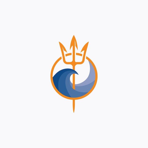 Logotipo do tridente de netuno e onda do mar Vetor Premium