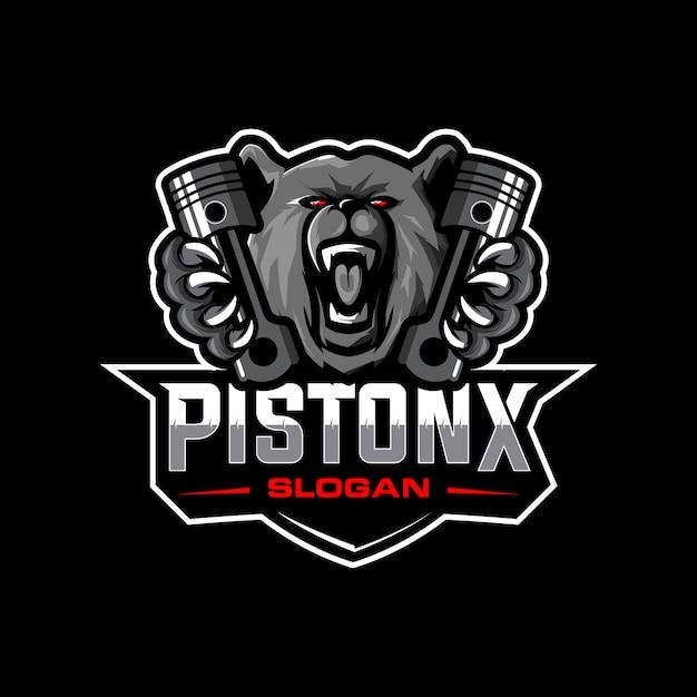 Logotipo do urso e pistão Vetor Premium