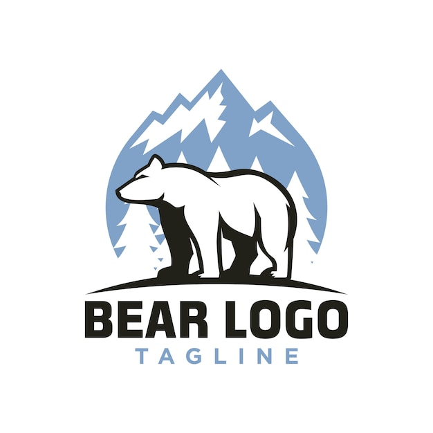 Logotipo do urso polar Vetor Premium