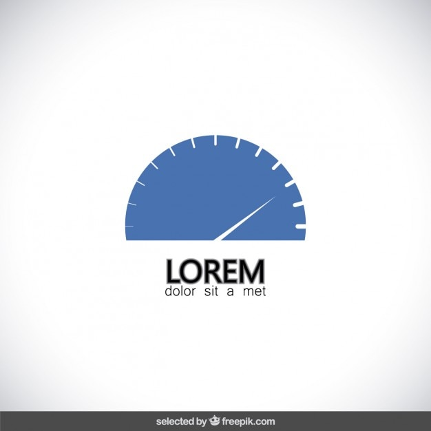 Logotipo do velocímetro azul Vetor grátis