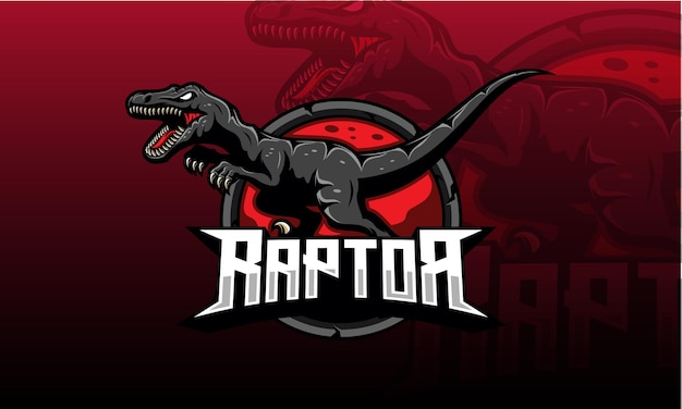 Logotipo do velociraptor esport Vetor Premium
