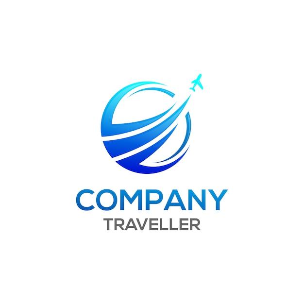 Logotipo do viajante Vetor Premium