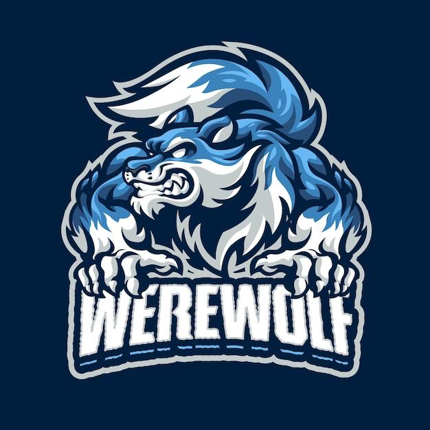 Logotipo do werewolf mascot para esportes e equipe de esportes Vetor Premium