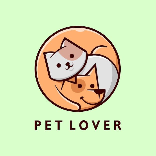 Logotipo dos desenhos animados do gato cinzento bonito e do cão marrom Vetor Premium