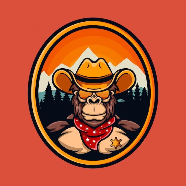 Logotipo dos desenhos animados do xerife do vaqueiro do macaco Vetor Premium