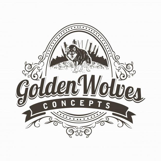 Logotipo dos lobos de Golden Vetor Premium