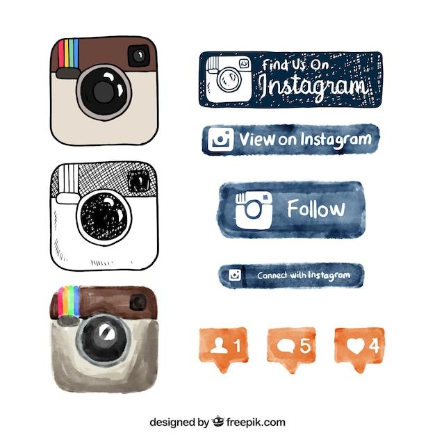 Logotipo e botões instagram desenhada à mão Vetor grátis