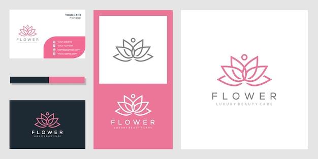 Logotipo e cartão de visita abstratos da flor de lótus Vetor Premium