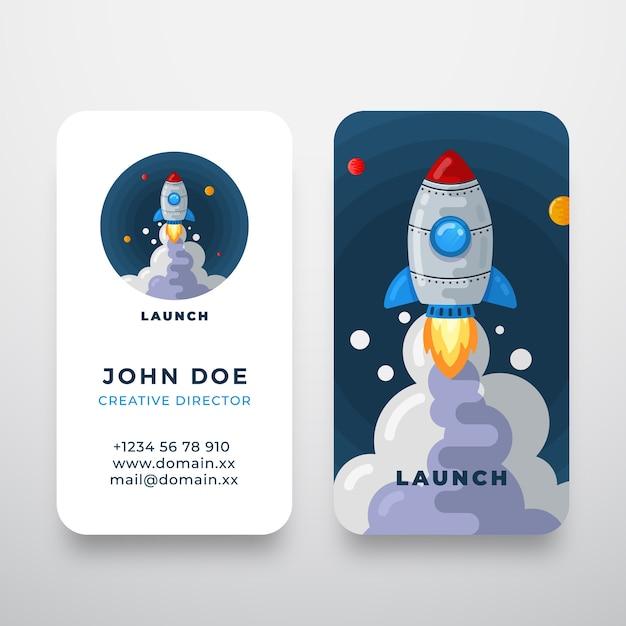 Logotipo e cartão de visita abstratos do foguete Vetor grátis