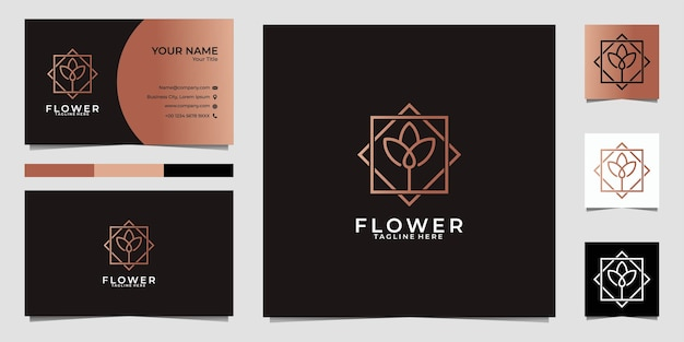 Logotipo e cartão de visita da linha de lótus da beleza Vetor Premium