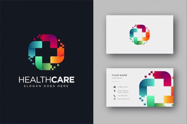 Logotipo e cartão de visita digital medical Vetor Premium