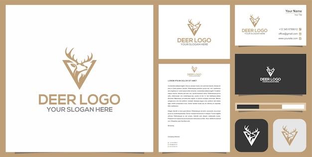 Logotipo e cartão de visita do caçador de cervos vintage. Vetor Premium