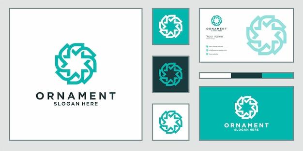 Logotipo e cartão de visita do projeto luxuoso do ornamento. Vetor Premium