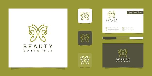 Logotipo e cartão de visita em forma de monograma de linha de borboleta minimalista Vetor Premium