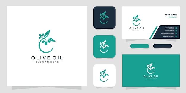 Logotipo e cartões de visita de oliveira e azeite Vetor Premium