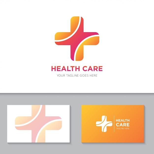 Logotipo e ícone de cuidados de saúde médicos Vetor Premium