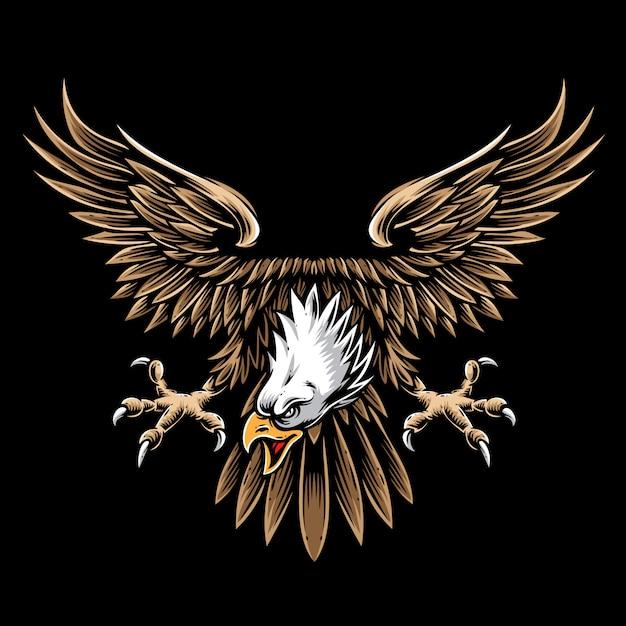 Logotipo e vetor de águia vintage Vetor Premium