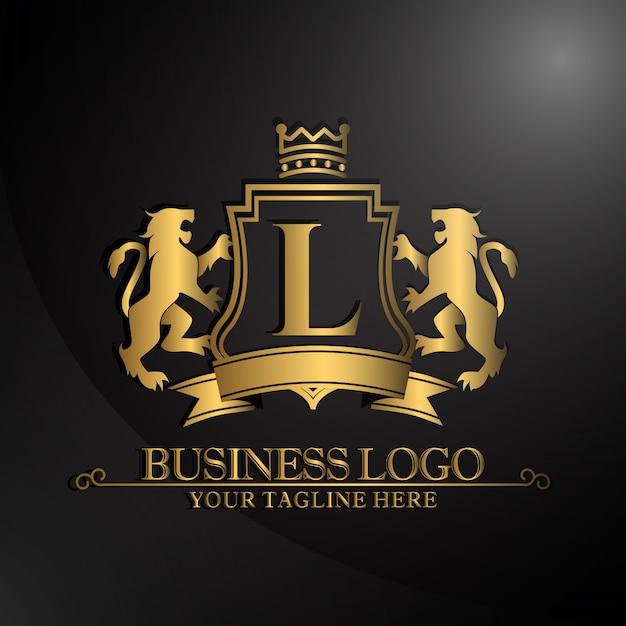 Logotipo elegante com design de dois leões Vetor grátis