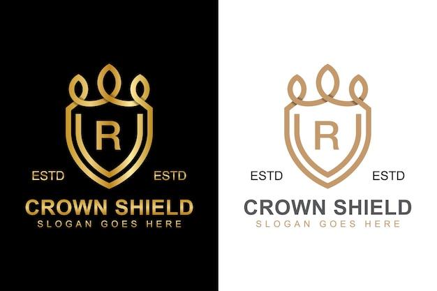 Logotipo elegante da coroa e escudo com a letra r inicial com design de duas versões Vetor Premium