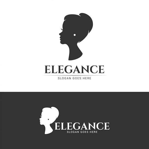 Logotipo elegante de menina bonita de elegância Vetor Premium