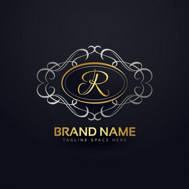 Logotipo elegante letra r no estilo floral Vetor grátis