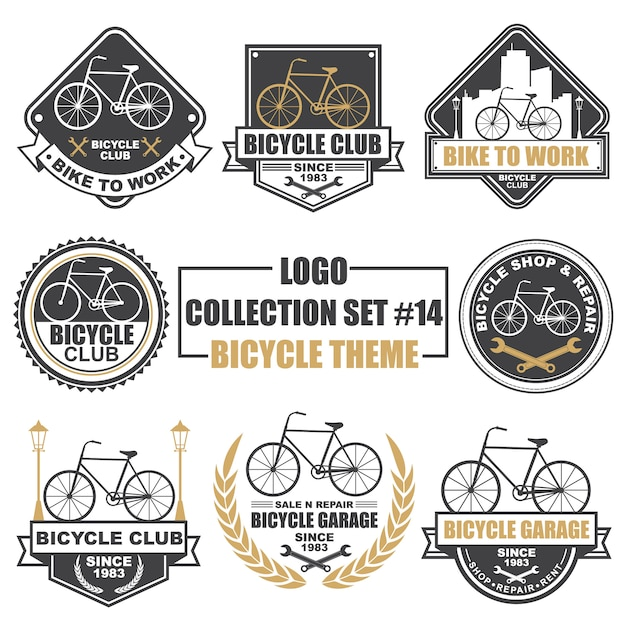 Logotipo, emblema, símbolo, ícone, coleção de design de modelo de rótulo definido com tema de bicicleta Vetor Premium