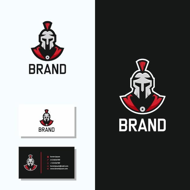 Logotipo espartano com design de logotipo de cartão Vetor Premium