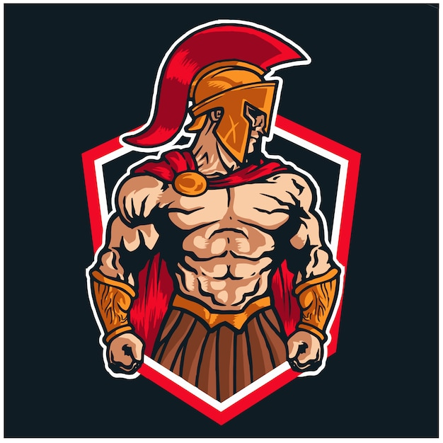 Logotipo espartano da mascote do guerreiro Vetor Premium