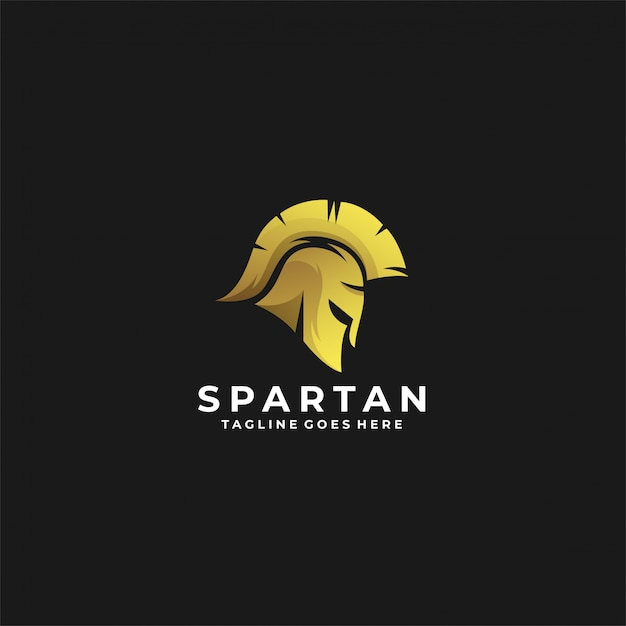 Logotipo espartano luxo cor de ouro. Vetor Premium