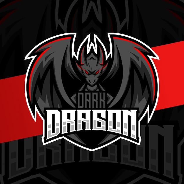Logotipo esport do mascote do dragão escuro Vetor Premium