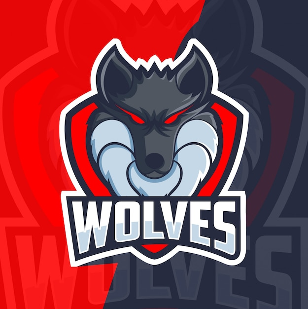 Logotipo esport mascote lobos Vetor Premium