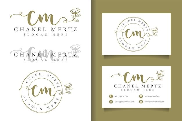 Logotipo feminino cm inicial e modelo de cartão de visita Vetor Premium