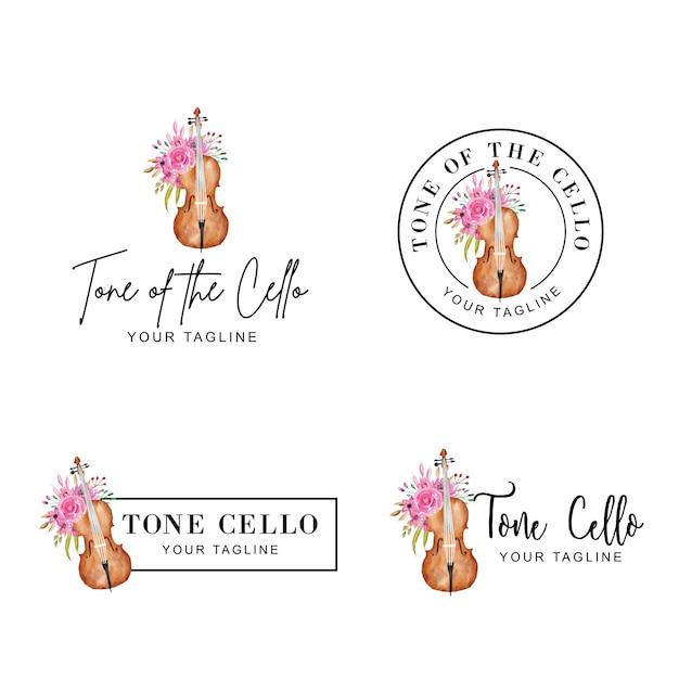 Logotipo feminino de flor e violoncelo em aquarela Vetor Premium