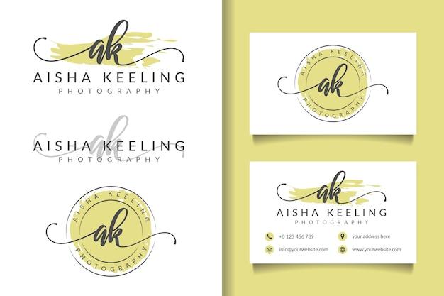 Logotipo feminino inicial ak e modelo de cartão de visita Vetor Premium