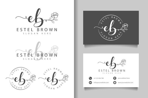Logotipo feminino inicial eb e modelo de cartão de visita Vetor Premium