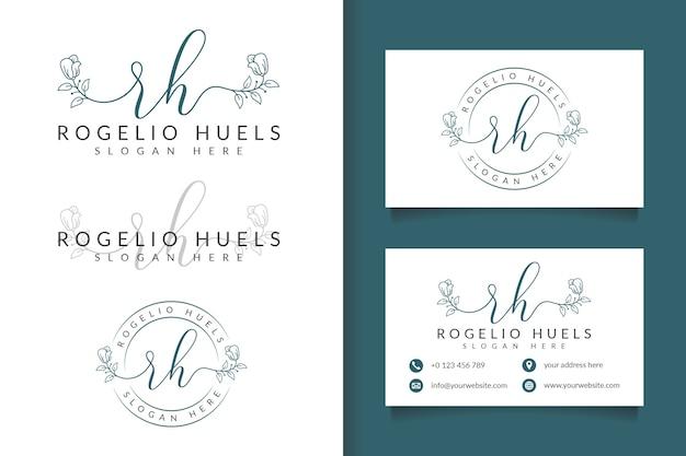 Logotipo feminino rh inicial e modelo de cartão de visita Vetor Premium