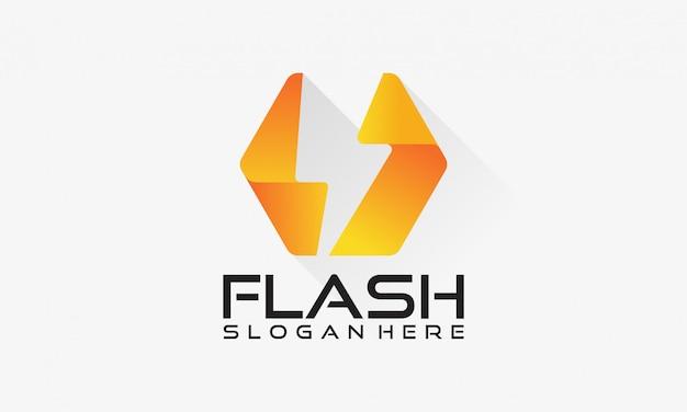 Logotipo flash, projetos do conceito do poder da eletricidade do trovão Vetor Premium