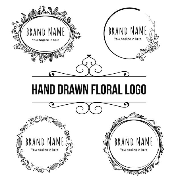 Logotipo floral desenhado de mão Vetor Premium