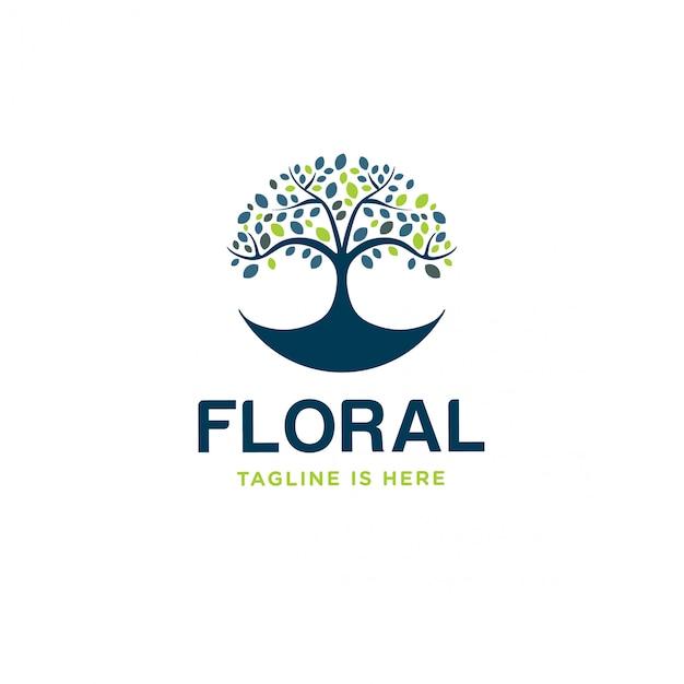 Logotipo floral Vetor Premium