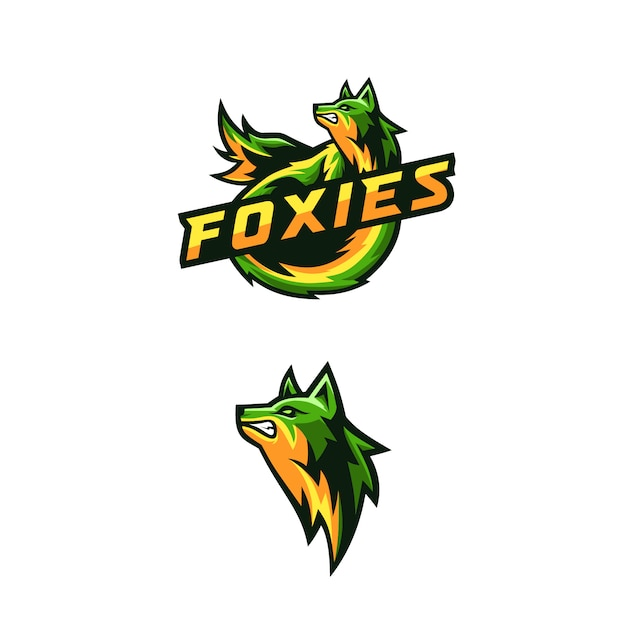 Logotipo foxies impressionante para jogos de esquadrão Vetor Premium