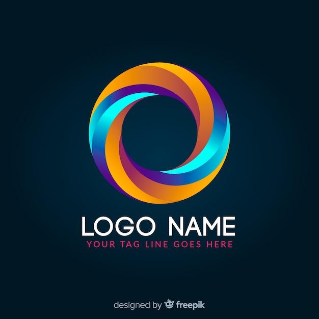 Logotipo geométrico colorido brilhante de gradiente Vetor grátis