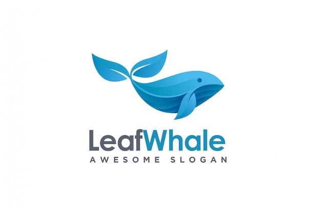 Logotipo geométrico moderno de peixe e folha de baleia, logotipo de baleia de natureza Vetor Premium