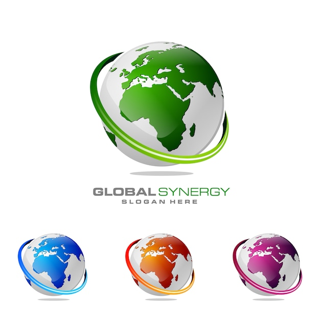 Logotipo global Vetor Premium