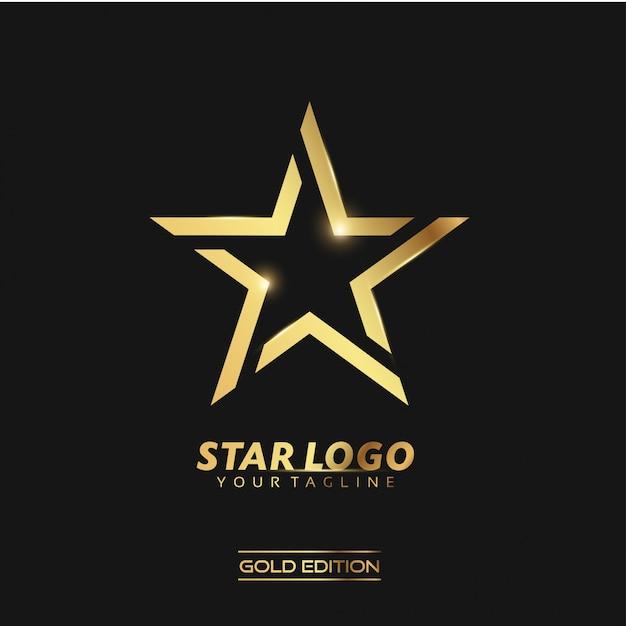 Logotipo gold star Vetor Premium