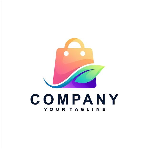 Logotipo gradiente da sacola de compras Vetor Premium