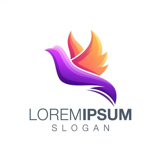 Logotipo gradiente de pássaro Vetor Premium